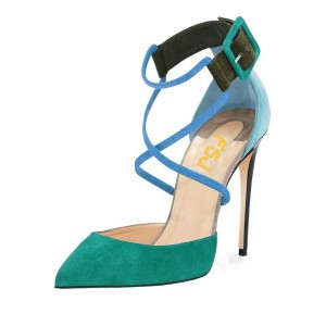 Teal Shoes Suede Cross over Strap Closed Toe Sandals by FSJ