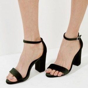 Women's Dark Green Block Heel Ankle Strap Sandals