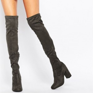 Women's Dark Grey Long Boots Chunky Heels Knee-high Boots by FSJ Shoes