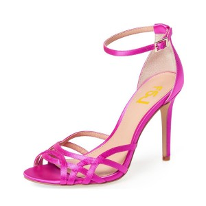 Hot Pink Peep Toe Ankle Strap Sandals