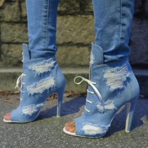 Women's Denim Boots Stiletto Heels Peep Toe Heels Ankle Booties