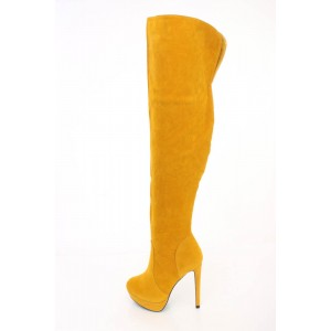 Mustard Suede Wide Calf Thigh High Boots with Platform