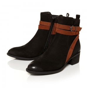 Women's Fashion Black Comfortable Shoes Almond Toe Buckle Ankle Boots