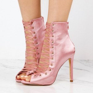 Women's Fashion Bright Pink Lace Up Boots Satin Peep Toe Ankle Boots