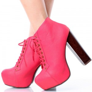 Women's Fashion Coral Red Lace up Boots Chunky Heel Platform Boots