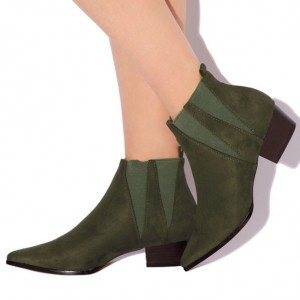 Women's Fashion Olive Green Comfortable Shoes Pointed Toe Ankle Boots