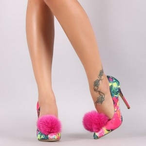 Women's Fashion Red Floral Heels Spring Pointy Toe Stiletto Heel Pumps