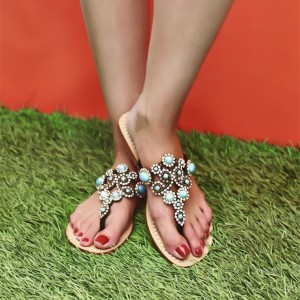 Women's Flip-Flops Gladiator Sandals Rhinestones Beach Shoes