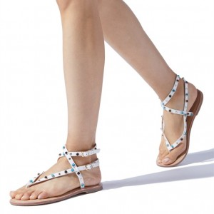 White Beaded Greek Sandals Trending Flat Sandals US Size 3-15