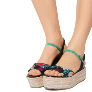 Floral Platform Sandals Wid Fit Open Toe Wedge Heels by FSJ