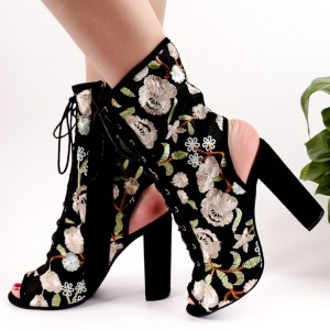 Floral Lace up Boots Slingback Chunky Heel Ankle Boots for Women