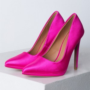 Women's Fuchsia Satin Pointy Toe Stiletto Heels Pumps