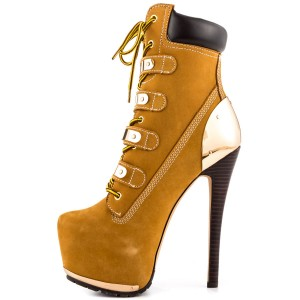 Mustard Lace up Fall Boots Suede Platform High Heel Ankle Boots