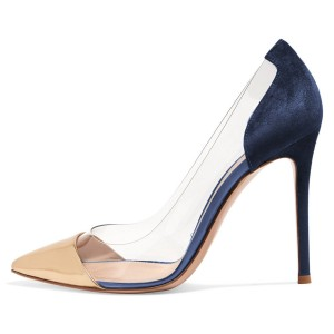 Women's Gold And Navy Clear Heels Stiletto Pumps
