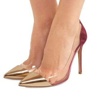 Women's Gold And Plum Clear Heels Stiletto Pumps