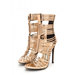 Women's Gold Metallic Strappy Gladiator Heel Stiletto Heel Sandals