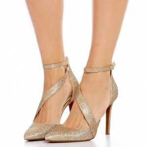 Women's Gold Sparkly Heels Ankle Strap Pointed Toe Heel Pumps