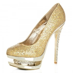 Women's Gold Sparkly Heels Dress Shoes High Heels Platform Shoes