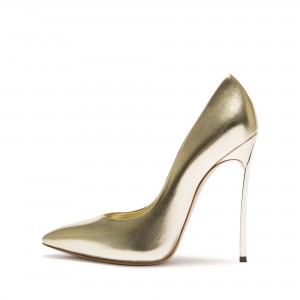 Champagne Sparky Metallic Heels Pointy Toe Stiletto Heels Pumps