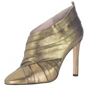 Women's Golden Fashion Boots Stiletto Heels Pointed Toe Ankle Booties