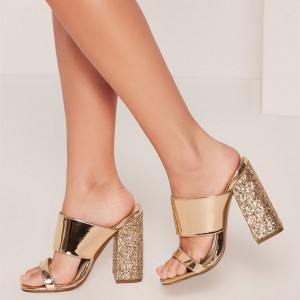 Gold Metallic and Glitter Mule Heels Open Toe Block Heels US Size 3-15