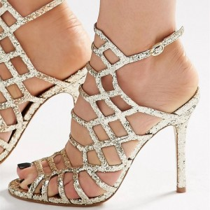 Gold Glitter Shoes Slingback Stiletto Heel Cage Sandals for Party