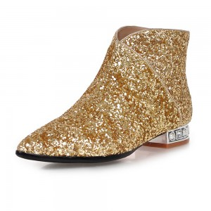 Gold Glitter Fashion Boots Pointy Toe Low Heel Short Boots