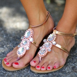 Golden Rhinestone Flats T Strap Comfortable Flats Jeweled Sandals