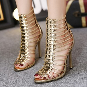 Gold Metallic Heels Open Toe Stiletto Heel Gladiator Sandals for Party