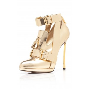 Women's Golden Stiletto Heels Ankle Strap Buckle Pumps Shoes