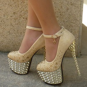 Golden Stripper Heels Platform Rivets Stiletto Heels Ankle Strap Pumps