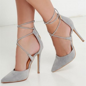 Women's Gray Suede Stiletto Heels Buckle Ankle Strap Heels Pumps