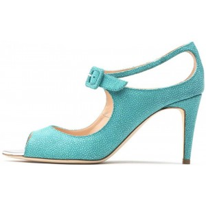 Women's Green Ankle Strap Heels Hollow out Peep Toe Stiletto Heels Pum