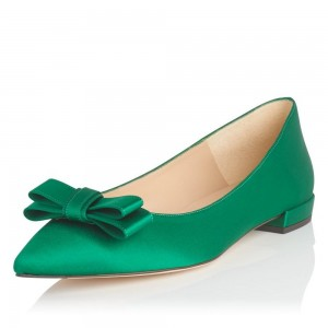 Women's Green Bow Comfortable Flats Pointy Toe School Shoes