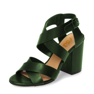 Green Block Heel Sandals Open Toe Women's Summer Sandals