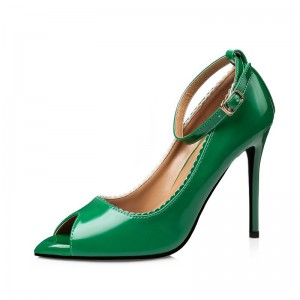Women's Green Peep Toe Ankle Strap Heels pumps