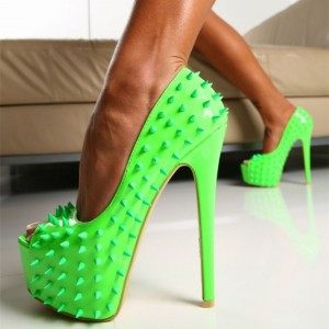 Women's Green Rivets Stripper Heels Platform Peep Toe Stiletto Pumps
