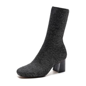 Dark Grey Square Toe Boots Block Heel Mid calf Sock Boots