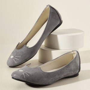 Women's Grey Commuting Comfortable Flats Cute Shoes