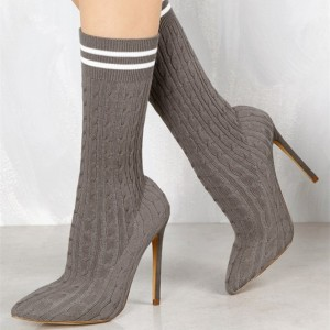Women's Grey Fashion Boots Pointy Toe Stiletto Heels Tight Ankle Boots
