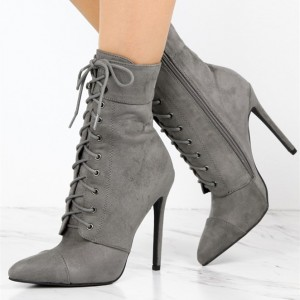 Women's Grey Lace Up Boots Suede Chunky Heels Retro Ankle Boots