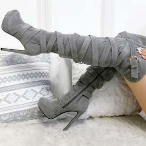 Grey Wide Calf Thigh High Boots Platform Strappy Suede Long Boots