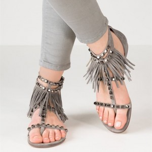 Women's Grey Open Toe Fringe Sandals Tassels T Strap School Shoes