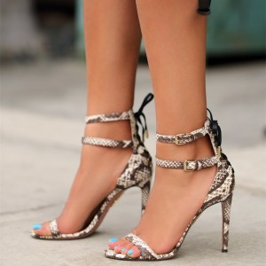 Coffee Color Snakeskin Open Toe Stiletto Heels Ankle Straps Sandals