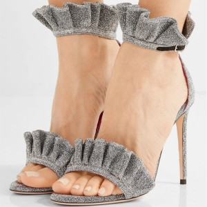 Women's Grey Ruffle Ankle Strap Open Toe Stiletto Heels