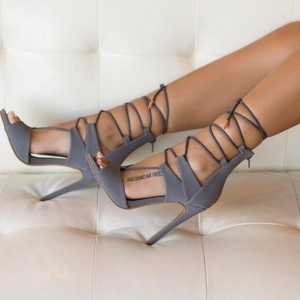 4 Inch Heels Grey Peep Toe Stiletto Heels Strappy Sandals by FSJ