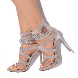 Grey Suede Vegan Shoes Open Toe Stiletto Heel Sexy Sandals