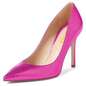 Women's Magenta Pointy Toe Stiletto Heels Pumps