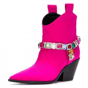 Women's Hot Pink Rhinestone Cowgirl Boots Chunky Heels Ankle Booties