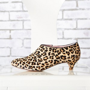 Leopard Booties Closed Toe Kitten Heels Cheetah Haircalf Short Boots